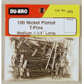 "Dubro # 253 - T-Pins 1-1/4"" (100)"
